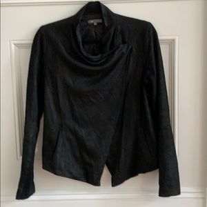 Vince. Black Leather 'waterfall' jacket. Sz S